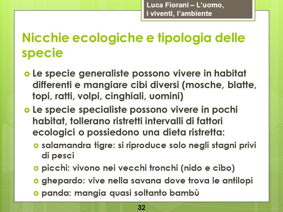 Nicchie ecologiche e tipologia delle specie