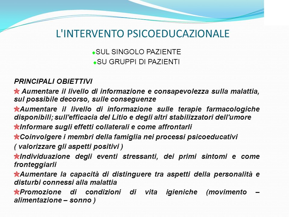 L INTERVENTO PSICOEDUCAZIONALE