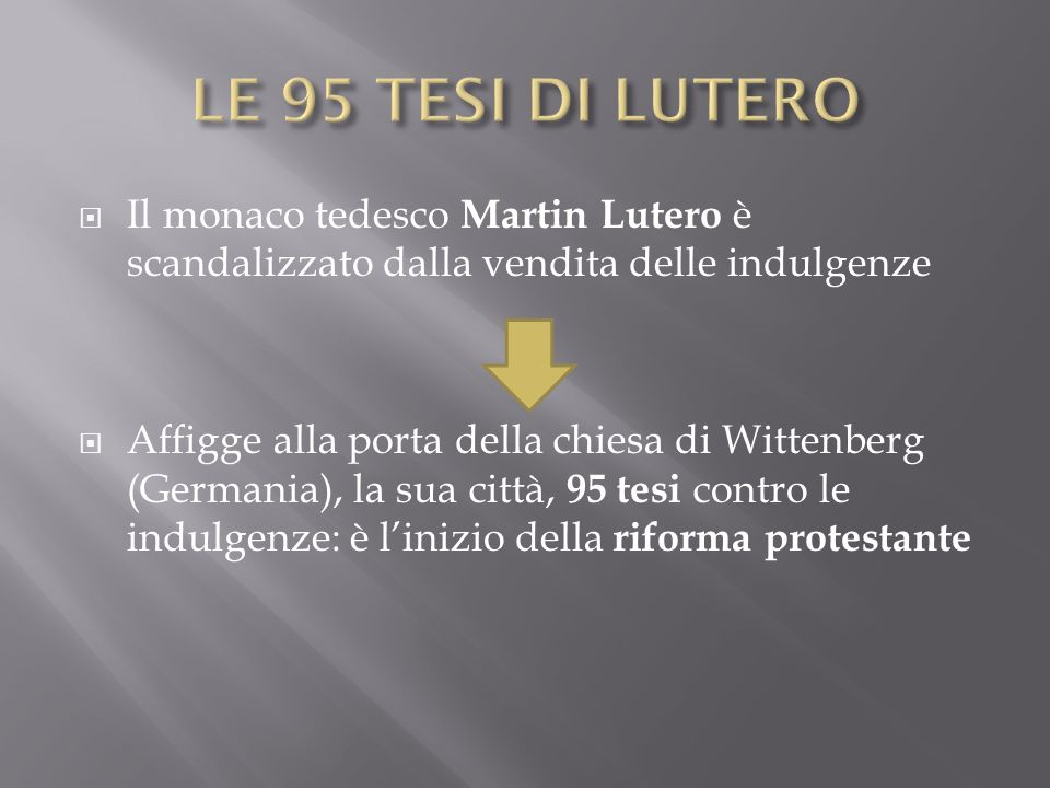 LE 95 TESI DI LUTERO Il monaco tedesco Martin Lutero è scandalizzato dalla vendita delle indulgenze.