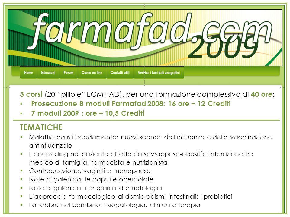 3 corsi (20 pillole ECM FAD), per una formazione complessiva di 40 ore: