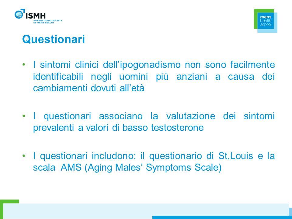 QuestionariI sintomi clinici dell'ipogonadismo non sono facilmente identificabili negli uomini più anziani a causa dei cambiamenti dovuti all'età.