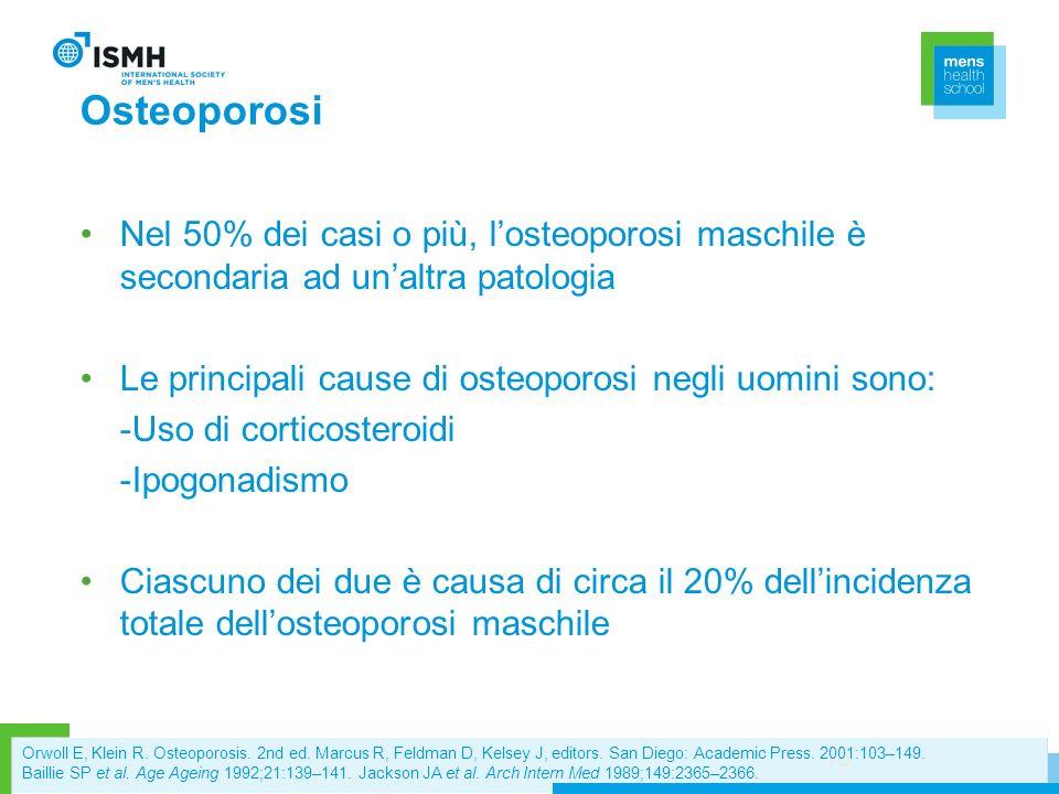 OsteoporosiNel 50% dei casi o più, l'osteoporosi maschile è secondaria ad un'altra patologia. Le principali cause di osteoporosi negli uomini sono: