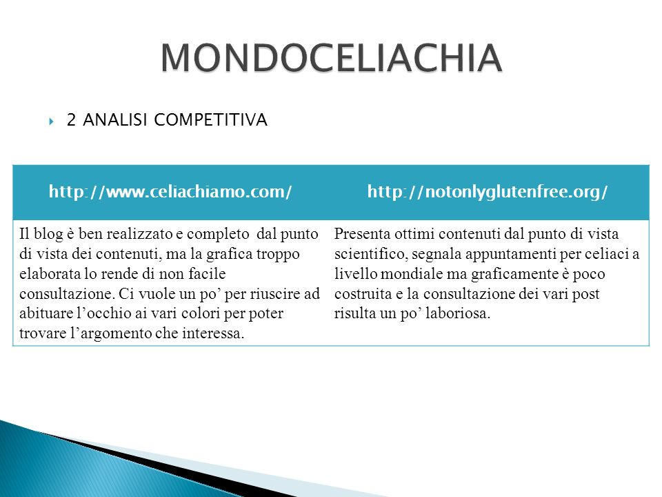 MONDOCELIACHIA 2 ANALISI COMPETITIVA http://www.celiachiamo.com/