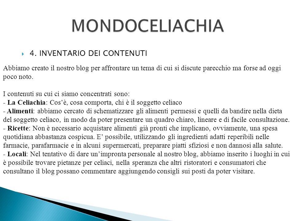 MONDOCELIACHIA 4. INVENTARIO DEI CONTENUTI