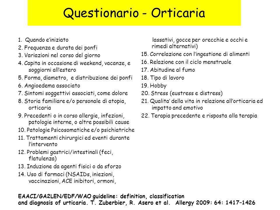 Questionario - Orticaria