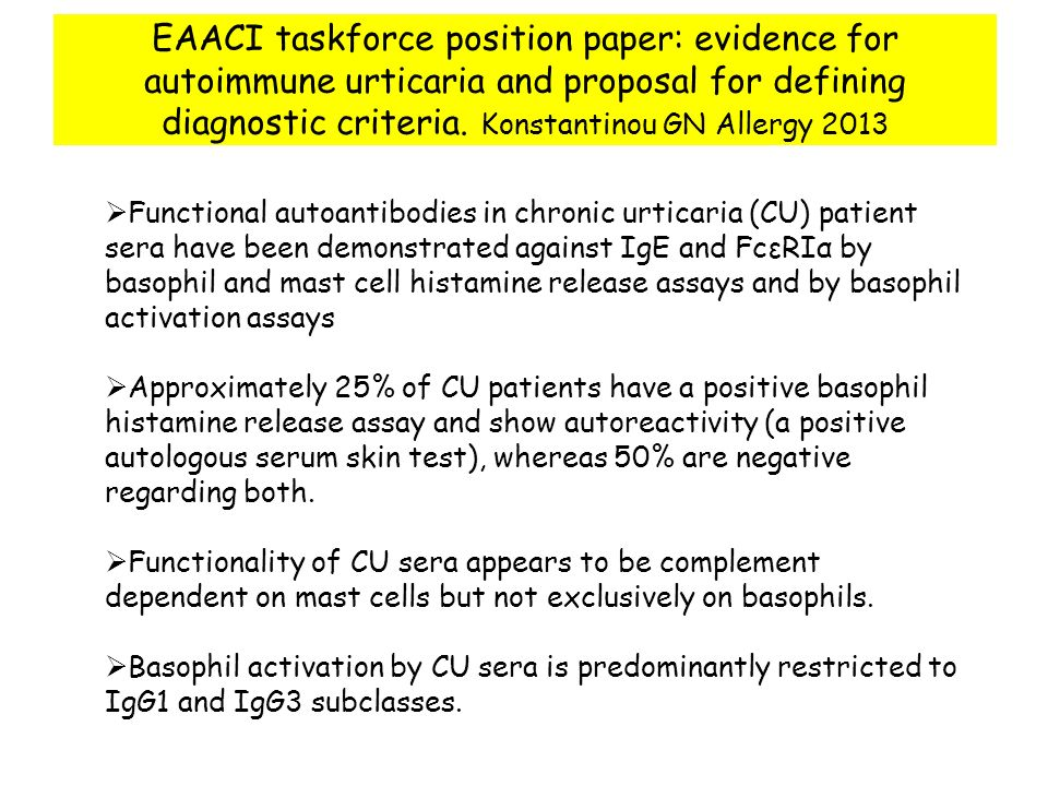 EAACI taskforce position paper: evidence for autoimmune urticaria and proposal for defining diagnostic criteria. Konstantinou GN Allergy 2013