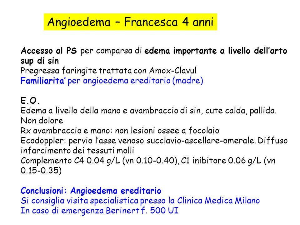 Angioedema – Francesca 4 anni