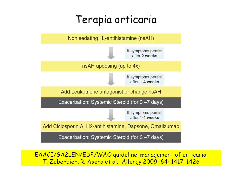 Terapia orticaria EAACI/GA2LEN/EDF/WAO guideline: management of urticaria. T. Zuberbier, R. Asero et al. Allergy 2009: 64: 1417–1426.
