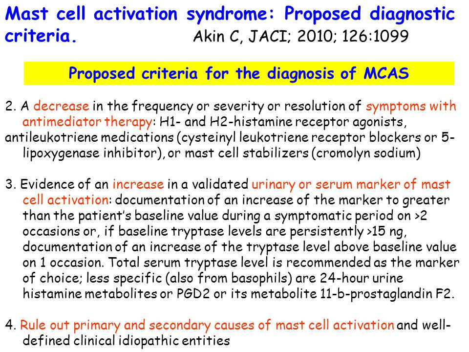 Proposed criteria for the diagnosis of MCAS