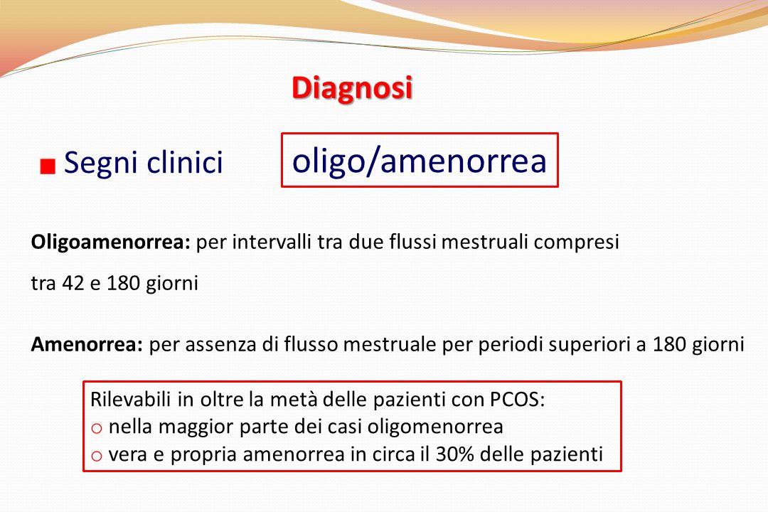 oligo/amenorrea Diagnosi Segni clinici