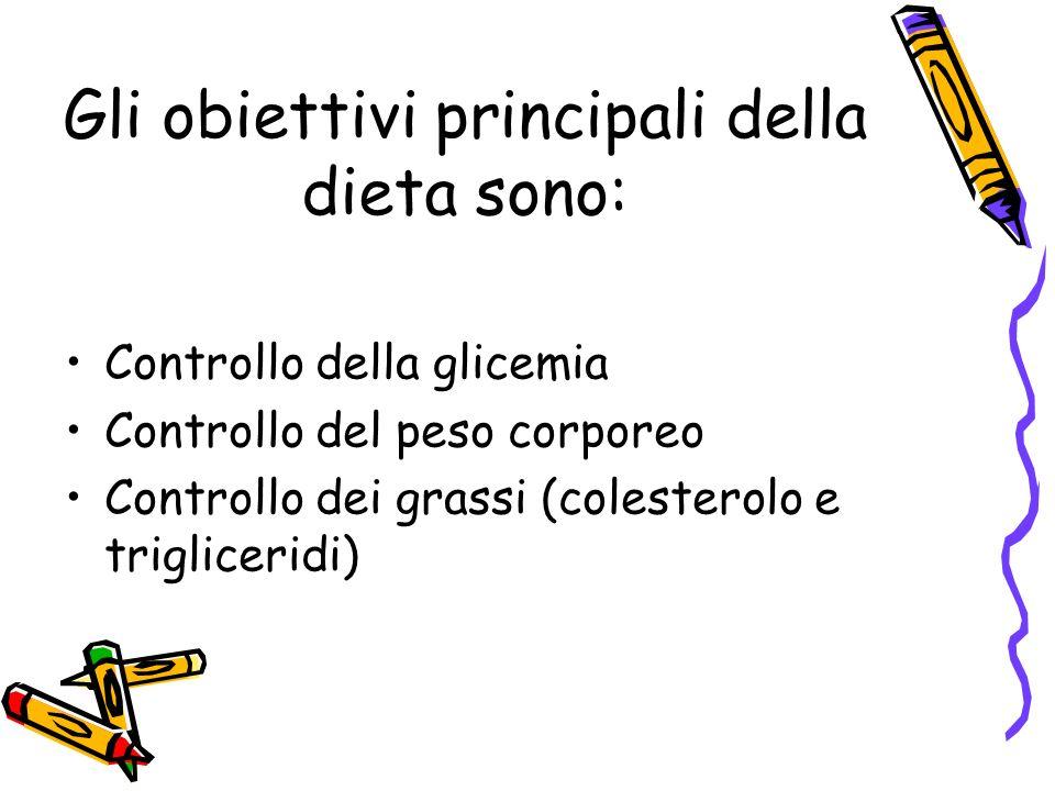 Gli obiettivi principali della dieta sono: