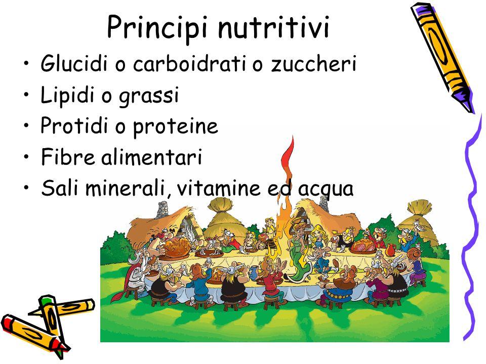 Principi nutritivi Glucidi o carboidrati o zuccheri Lipidi o grassi