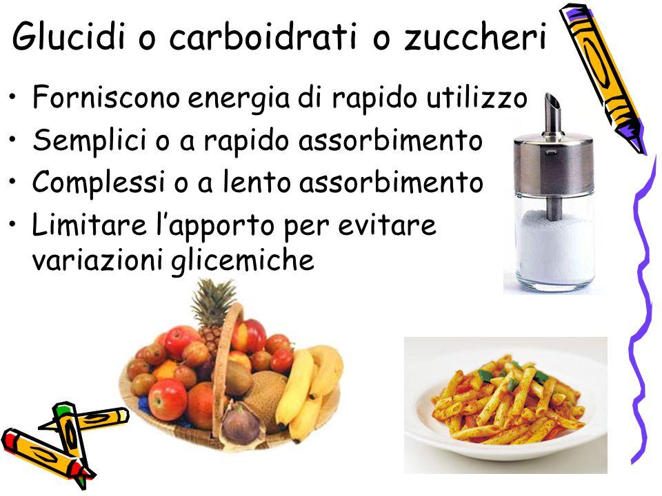 Glucidi o carboidrati o zuccheri