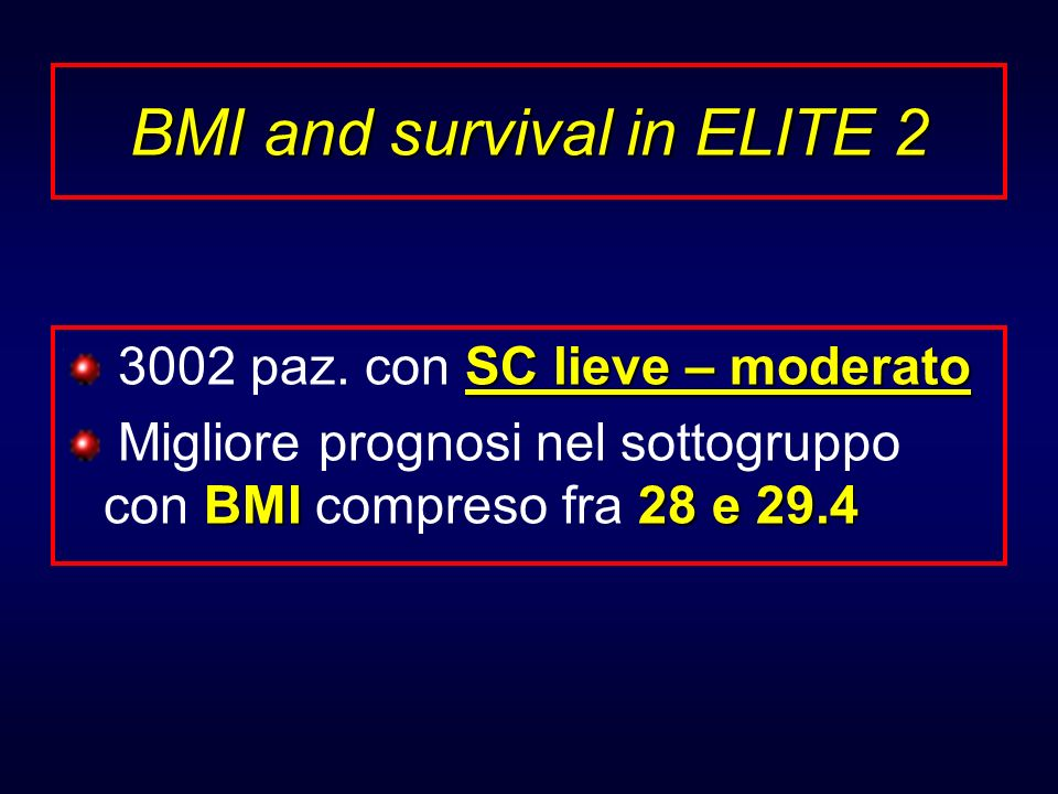 BMI and survival in ELITE 2