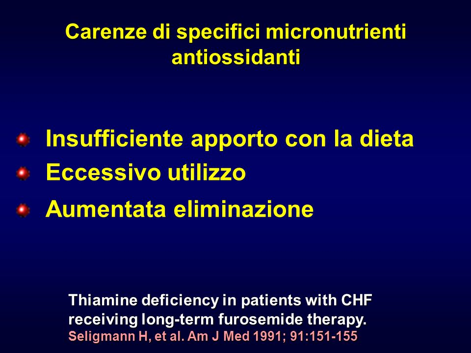 Carenze di specifici micronutrienti antiossidanti