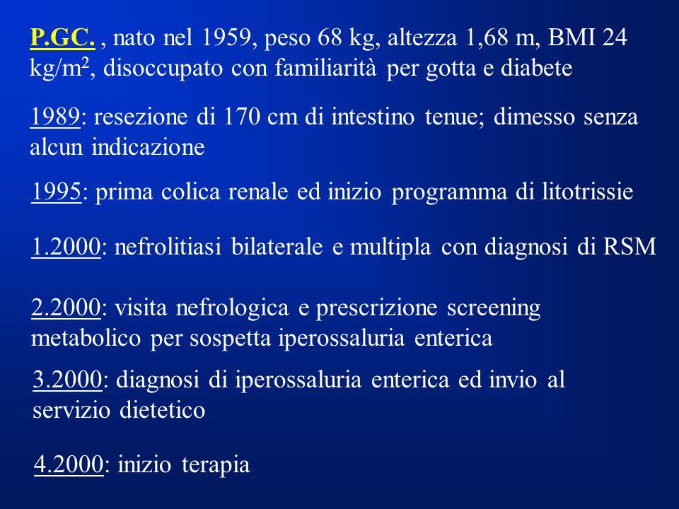 P.GC. , nato nel 1959, peso 68 kg, altezza 1,68 m, BMI 24 kg/m2, disoccupato con familiarità per gotta e diabete