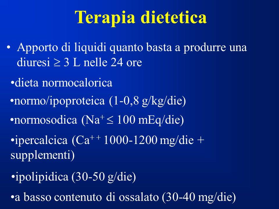 Terapia dietetica Apporto di liquidi quanto basta a produrre una diuresi  3 L nelle 24 ore. dieta normocalorica.