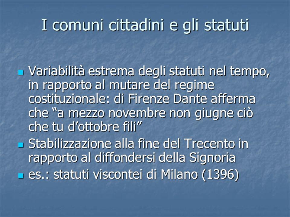 I comuni cittadini e gli statuti