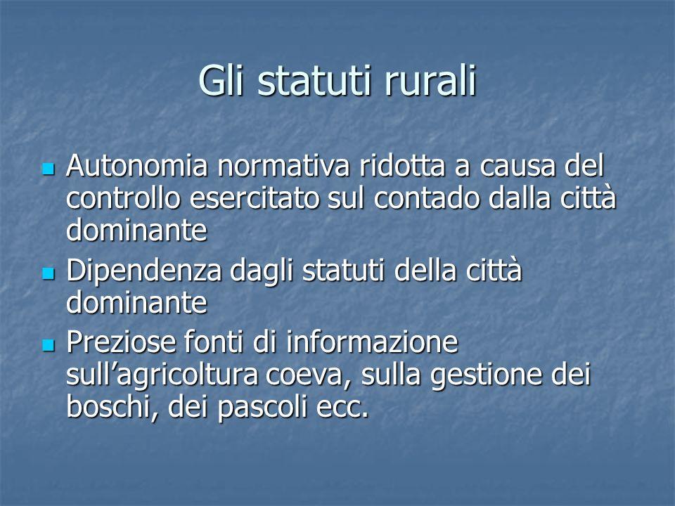 Gli statuti rurali Autonomia normativa ridotta a causa del controllo esercitato sul contado dalla città dominante.