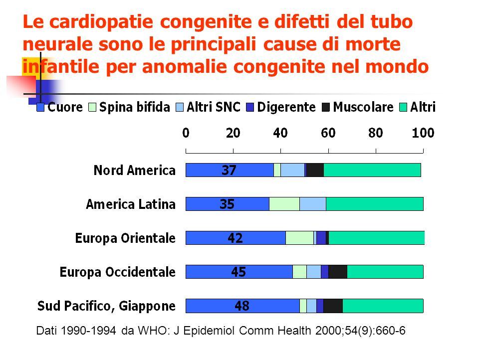 Le cardiopatie congenite e difetti del tubo neurale sono le principali cause di morte infantile per anomalie congenite nel mondo