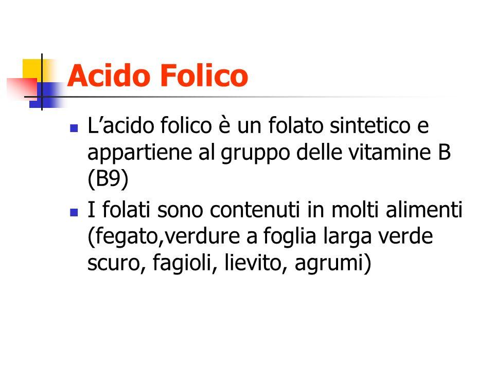 Acido Folico L'acido folico è un folato sintetico e appartiene al gruppo delle vitamine B (B9)