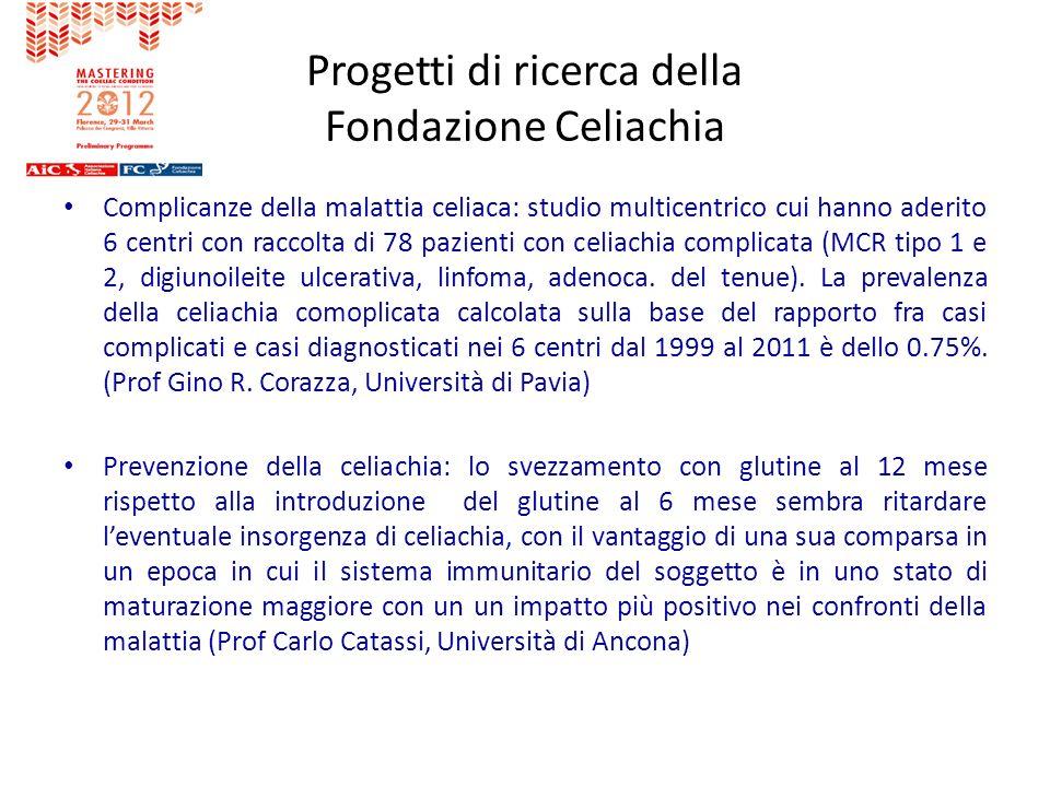 Progetti di ricerca della Fondazione Celiachia