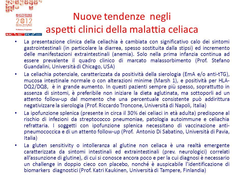 Nuove tendenze negli aspetti clinici della malattia celiaca