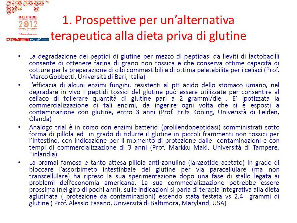 1. Prospettive per un'alternativa terapeutica alla dieta priva di glutine