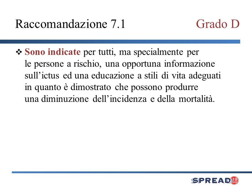 Raccomandazione 7.1 Grado D