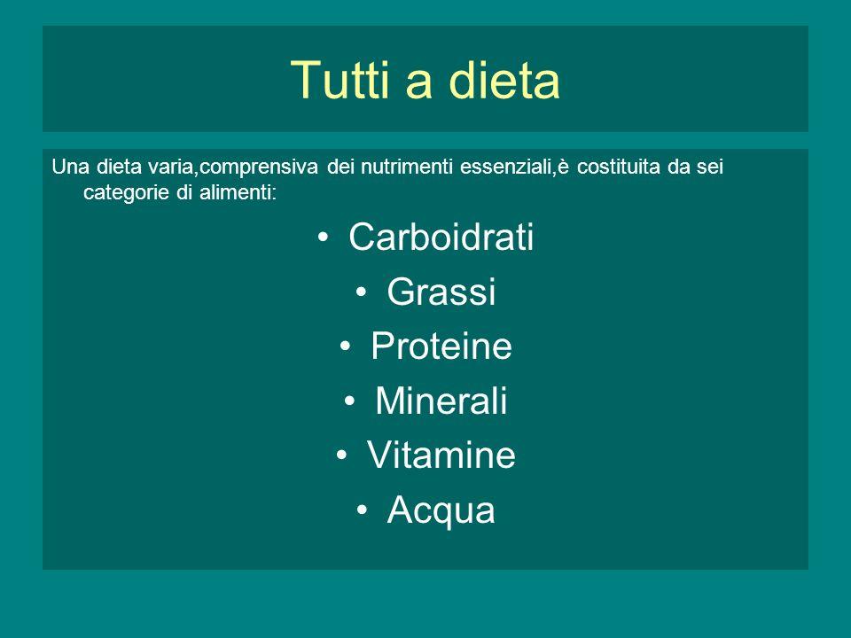 Tutti a dieta Carboidrati Grassi Proteine Minerali Vitamine Acqua