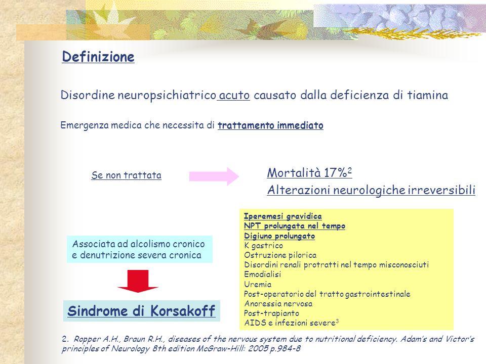 Definizione Sindrome di Korsakoff