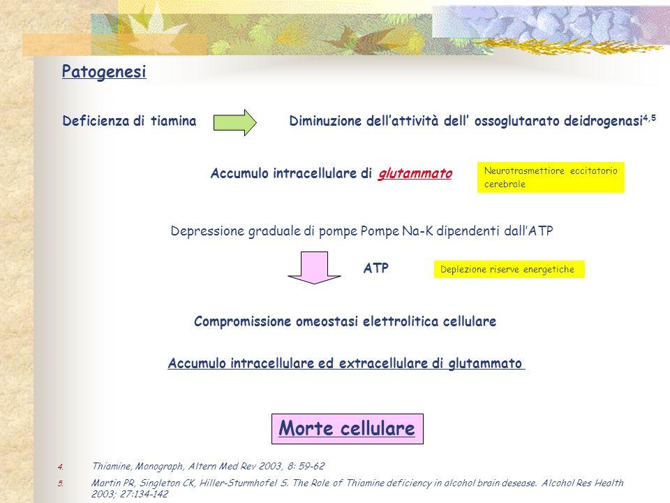 Morte cellulare Patogenesi Deficienza di tiamina