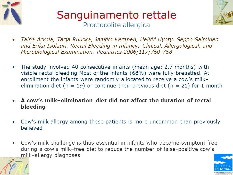 Sanguinamento rettale Proctocolite allergica