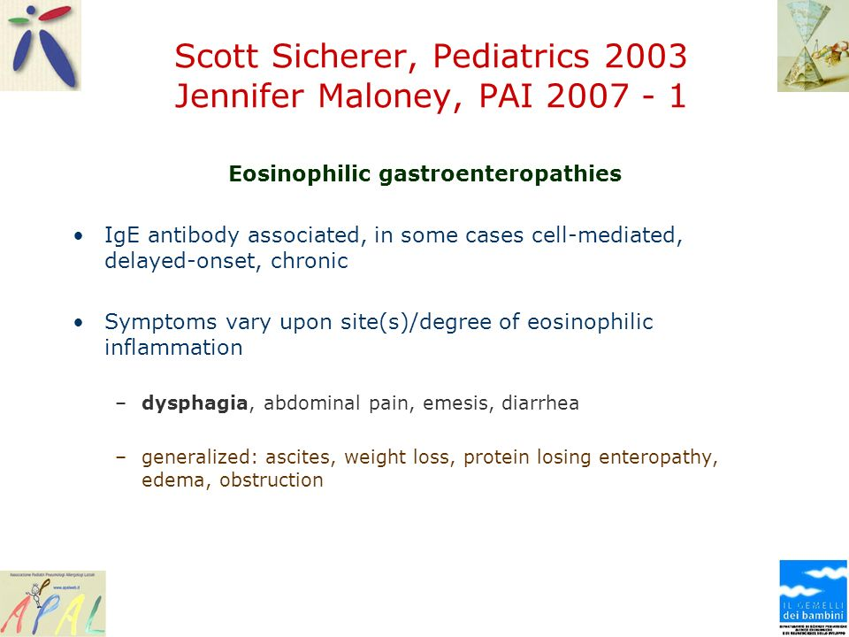 Scott Sicherer, Pediatrics 2003 Jennifer Maloney, PAI 2007 - 1