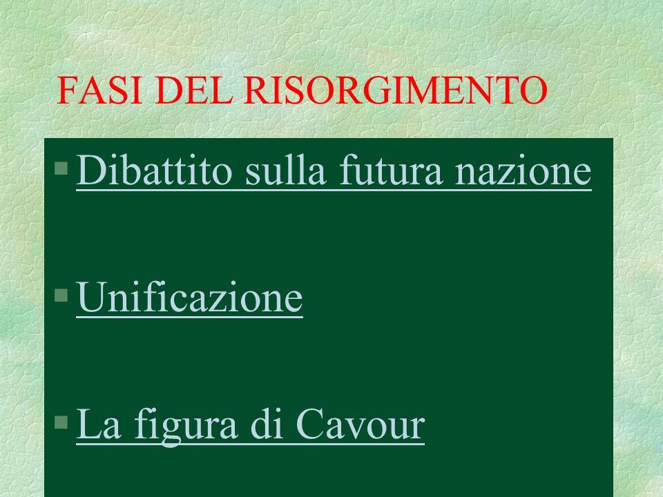 Dibattito sulla futura nazione Unificazione La figura di Cavour