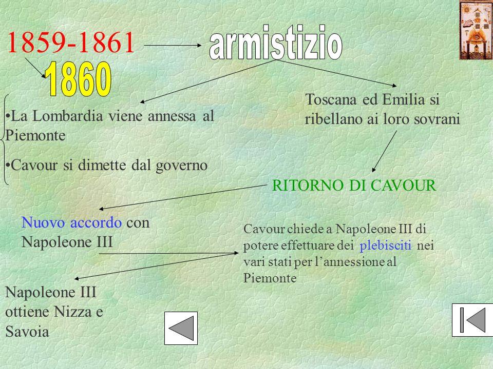1859-1861 armistizio. 1860. Toscana ed Emilia si ribellano ai loro sovrani. La Lombardia viene annessa al Piemonte.