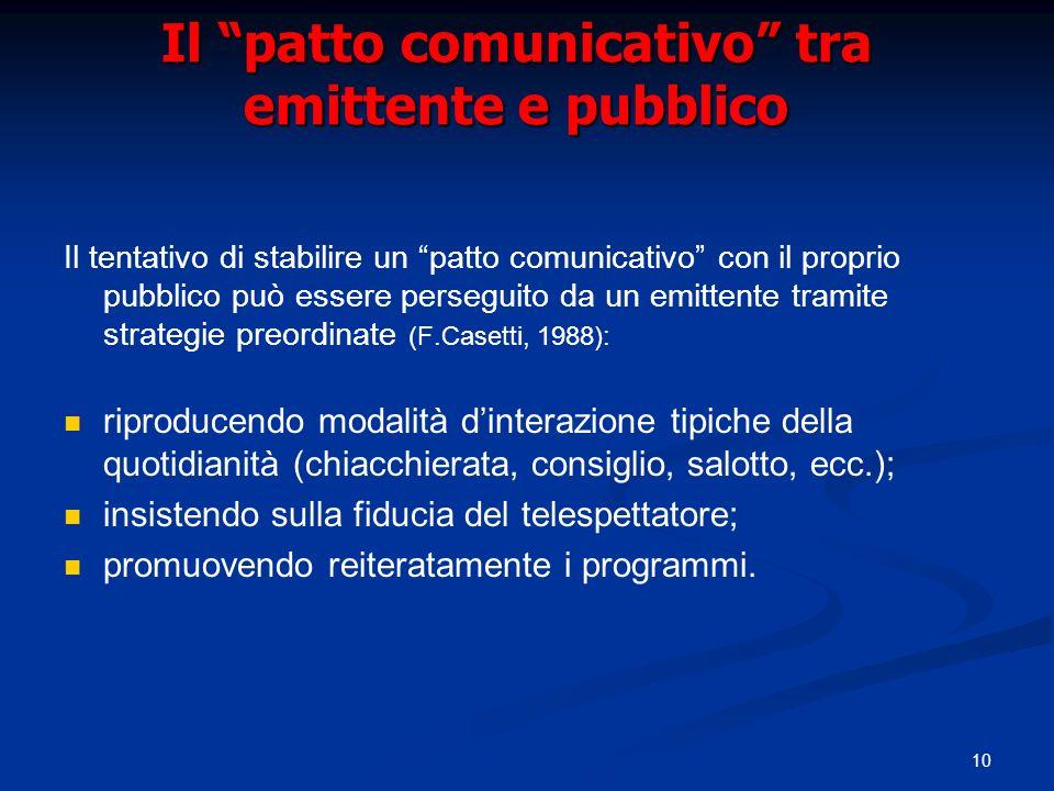 Il patto comunicativo tra emittente e pubblico