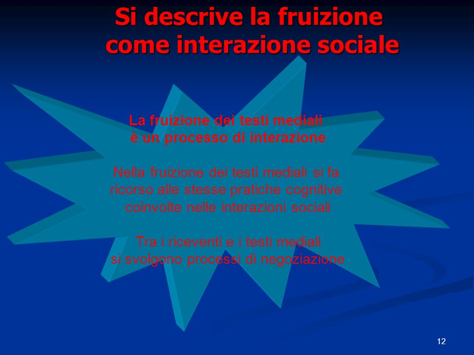 Si descrive la fruizione come interazione sociale