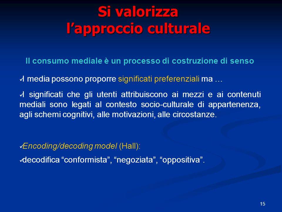 Si valorizza l'approccio culturale