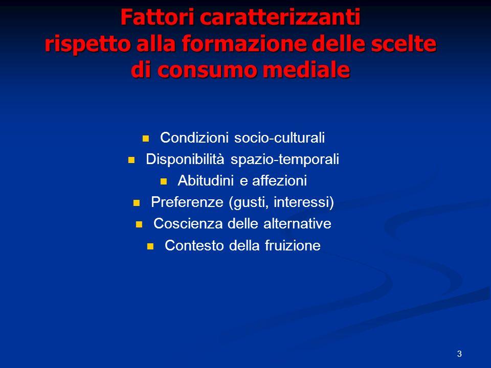 Fattori caratterizzanti rispetto alla formazione delle scelte di consumo mediale