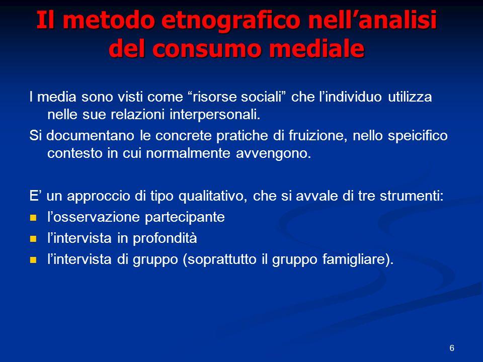 Il metodo etnografico nell'analisi del consumo mediale