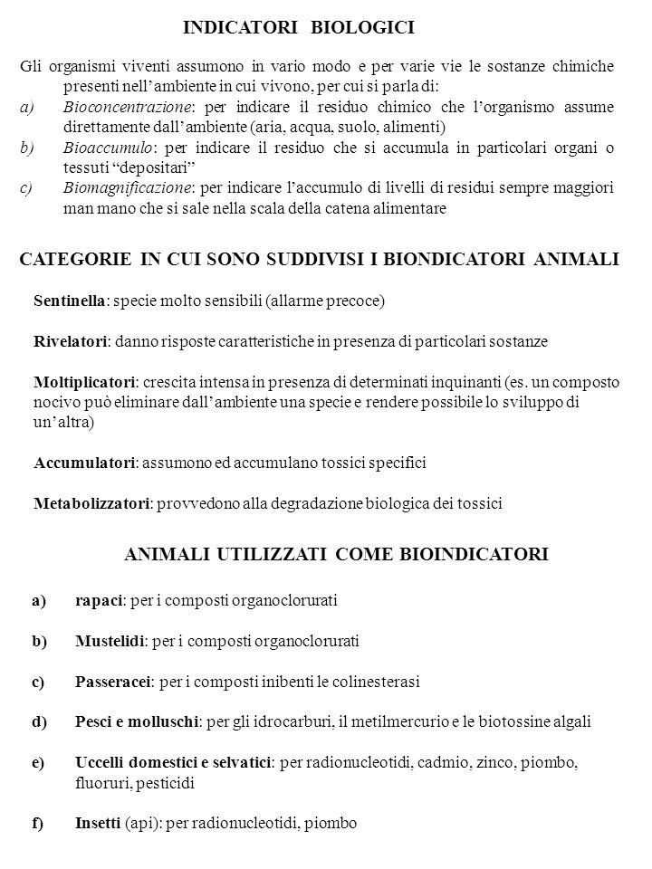 CATEGORIE IN CUI SONO SUDDIVISI I BIONDICATORI ANIMALI