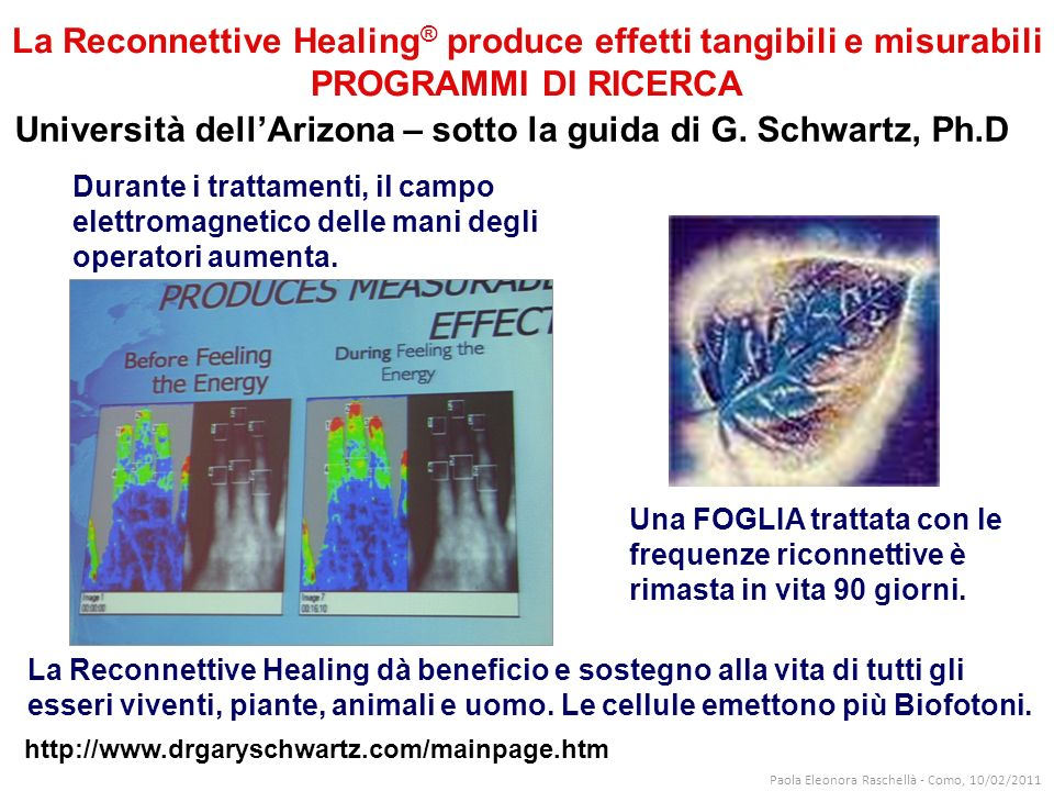 Università dell'Arizona – sotto la guida di G. Schwartz, Ph.D