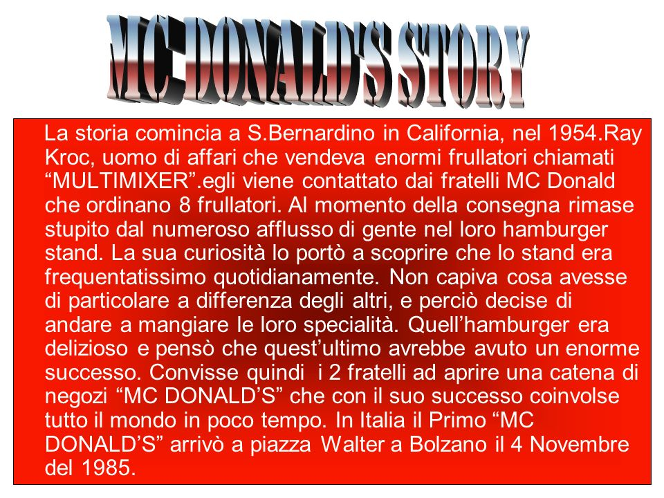 MC DONALD S STORY