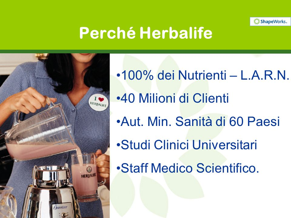 Perché Herbalife 100% dei Nutrienti – L.A.R.N. 40 Milioni di Clienti