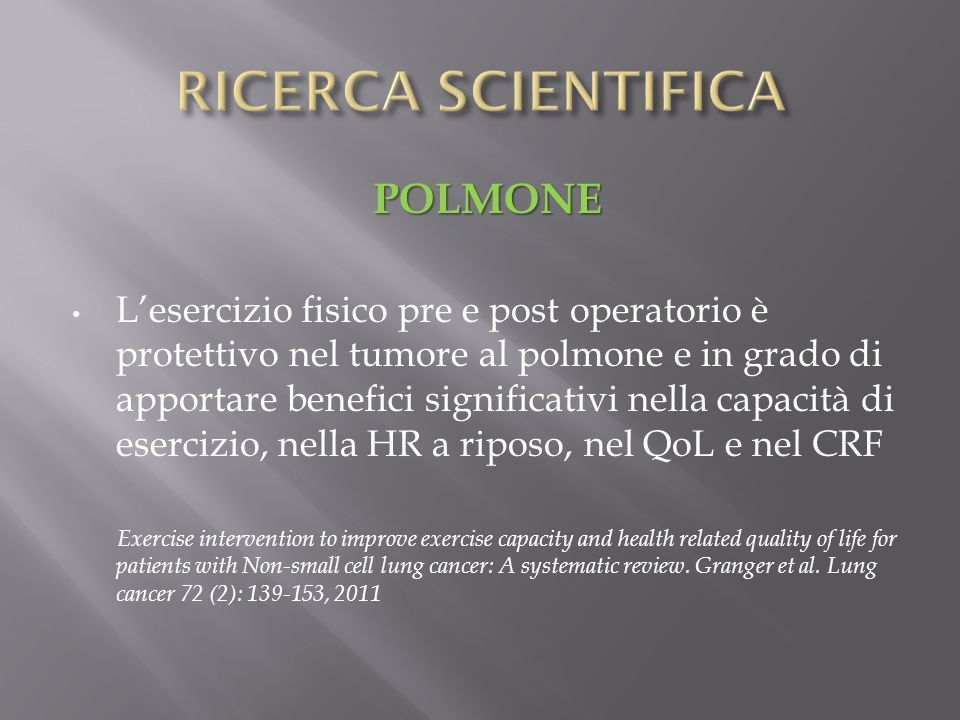 RICERCA SCIENTIFICA POLMONE