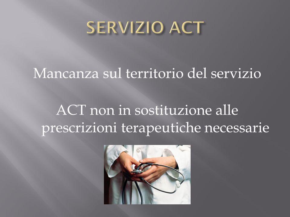 SERVIZIO ACT Mancanza sul territorio del servizio ACT non in sostituzione alle prescrizioni terapeutiche necessarie