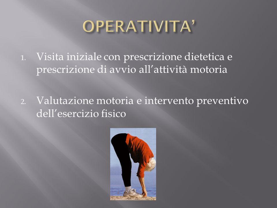OPERATIVITA' Visita iniziale con prescrizione dietetica e prescrizione di avvio all'attività motoria.