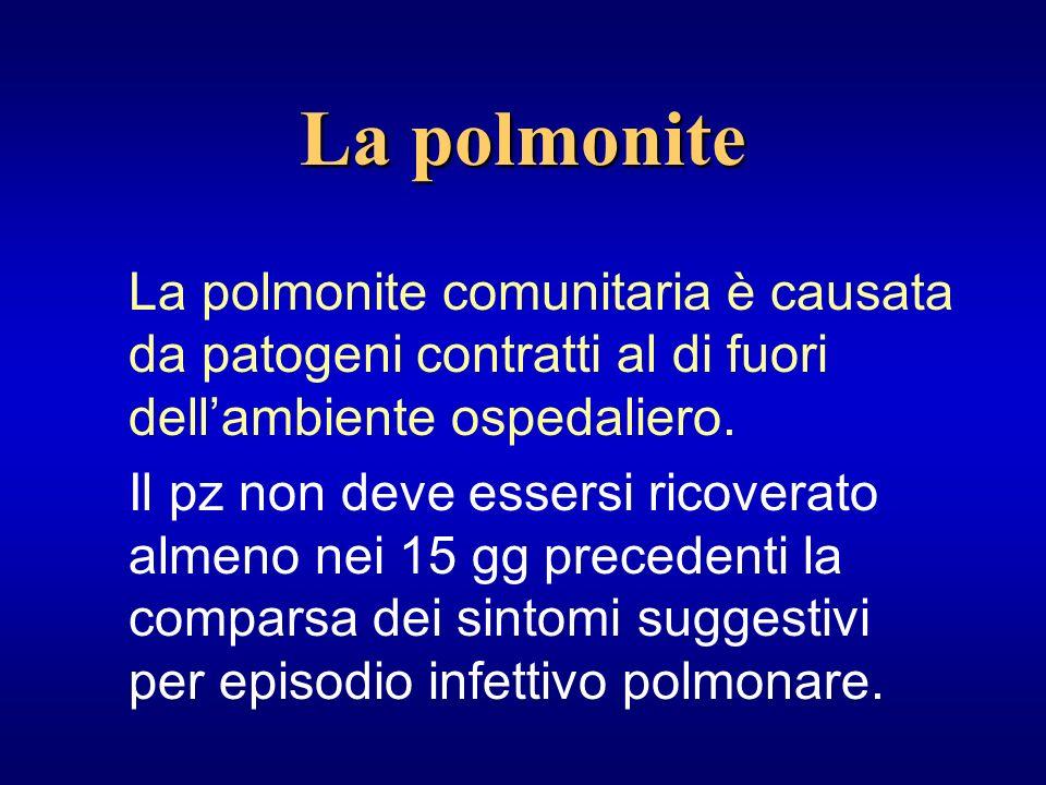 La polmonite La polmonite comunitaria è causata da patogeni contratti al di fuori dell'ambiente ospedaliero.