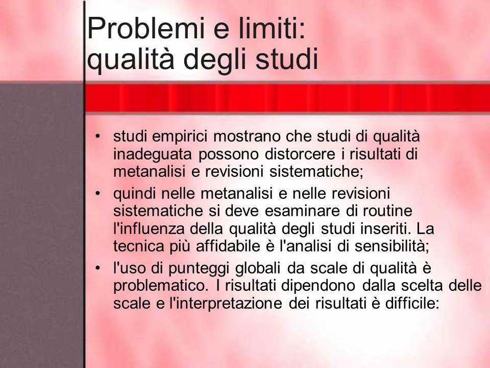 Problemi e limiti: qualità degli studi